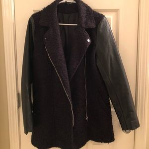 H&M leather & wool coat